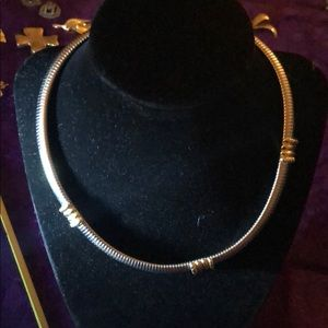Jewelry - Silver tone necklace with gold tone notching
